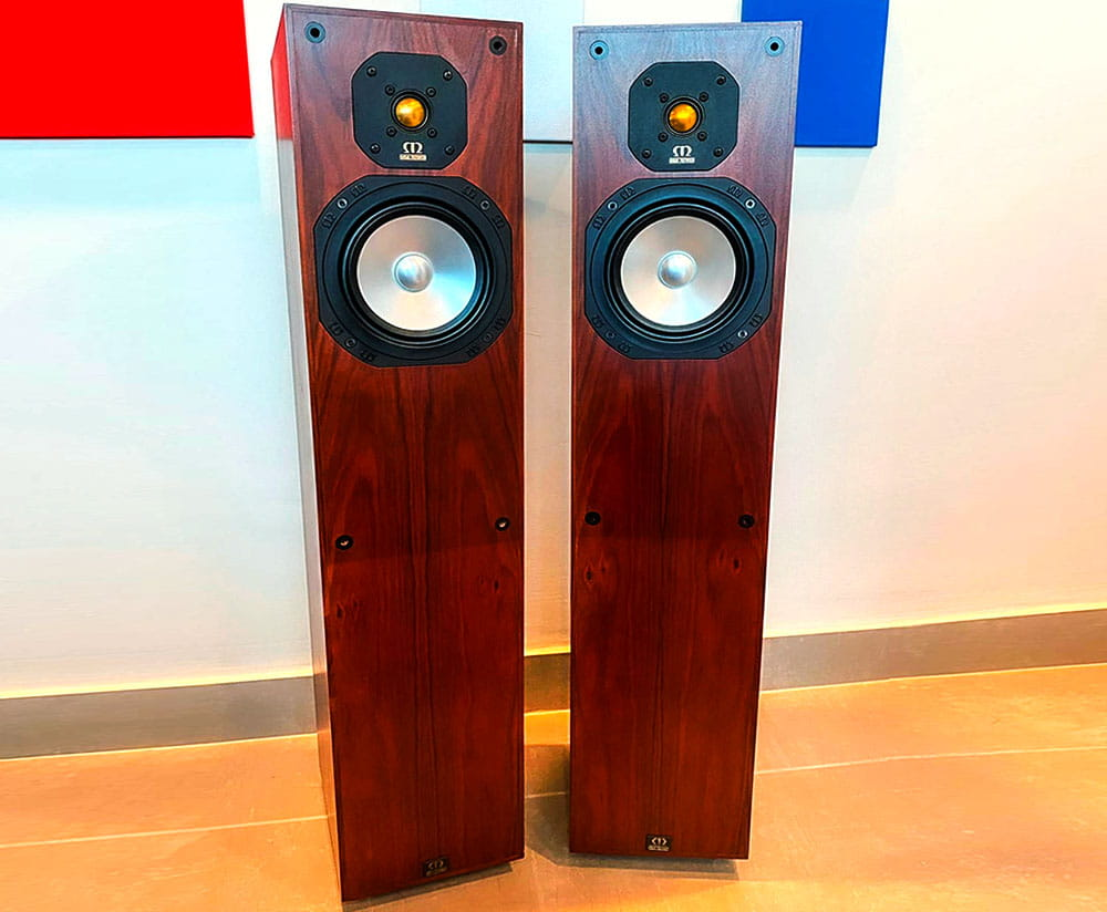 Monitor Audio Studio 20 SE speakers standing on the floor
